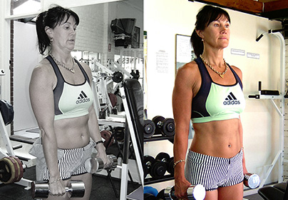Kim before and after training at Victors Gym