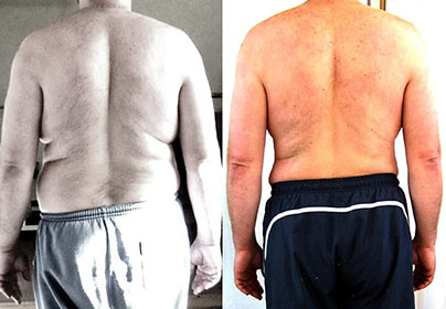 Pat before and after training at Victors Gym