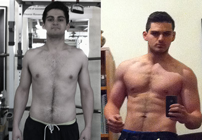 Peter before and after training at Victors Gym